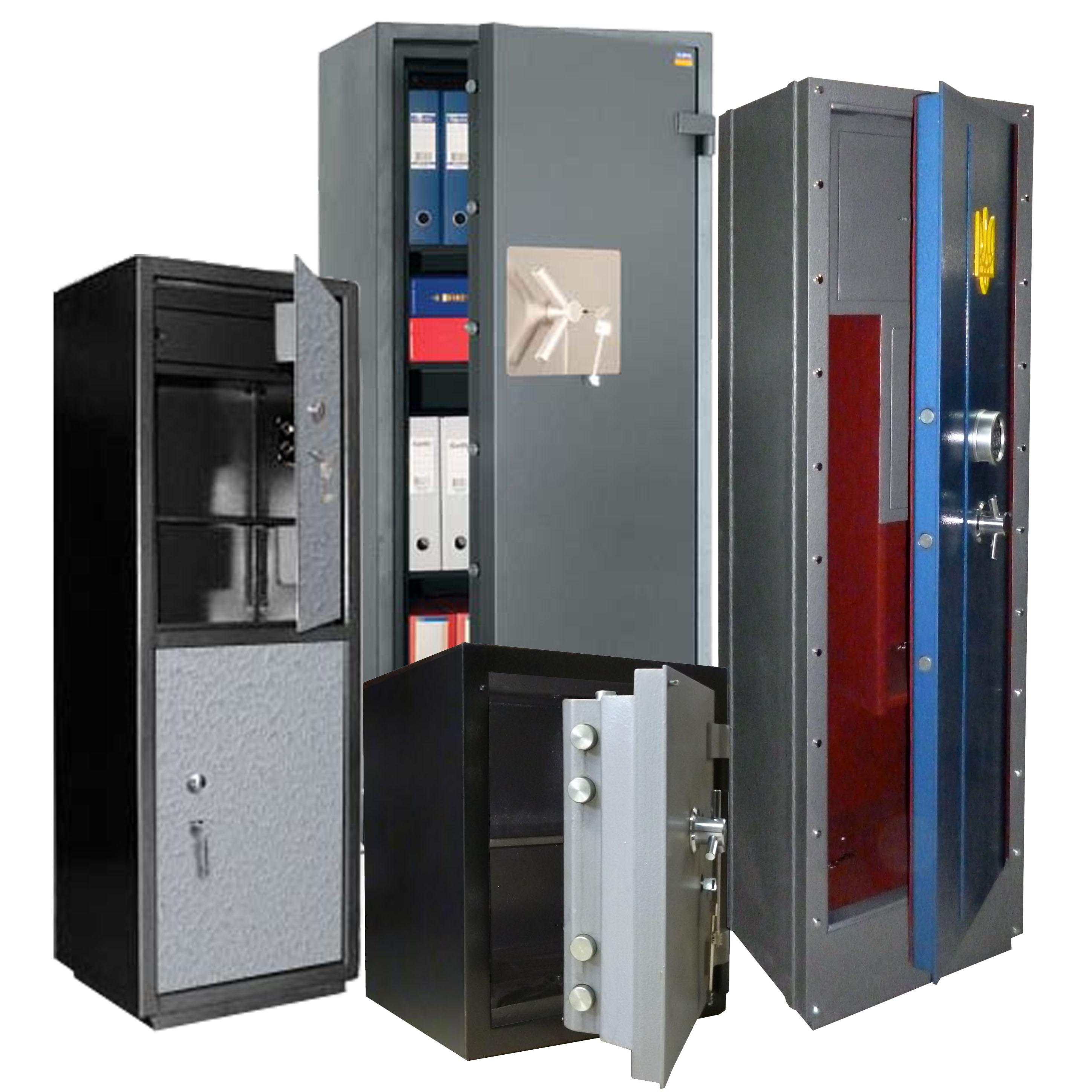 сейфи банківські сертифіковані, вогнетривкі, сейфи конторські, сейфи меблеві, сейфи стінні, сейфи для зброї, сейфи зламостійкі