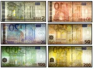 Изображение Евро в белом проходящем свете (на просвет)