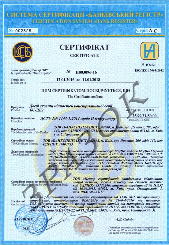 Сертификат на двери второго класса EN 1143-1:2014